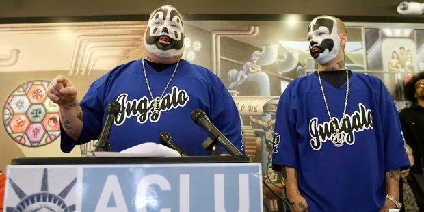 Joseph Bruce aka Violent J, left, and Joseph Utsler aka Shaggy 2 Dope, members of the Insane Clown Posse. Photo / AP