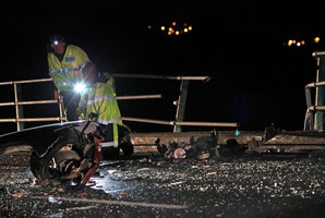 Emergency services at the scene of the fatal crash on Maungatapu Bridge. Photo/File