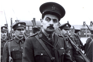 British comedian Rowan Atkinson as Captain Edmund Blackadder.