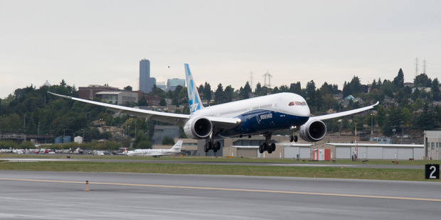 The Boeing 787-9 Dreamliner test aircraft was given a quick inspection by Air NZ executives at Auckland International Airport  on Saturday.