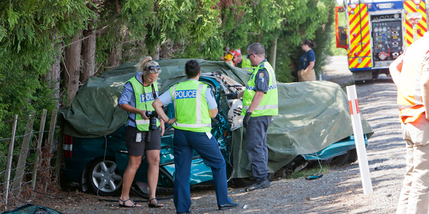 Emergency services at a fatal car crash on Napier Road, Havelock North. Photo / Glenn Taylor