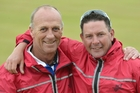 Veteran Mike Kernaghan, of Kaikorai (left), and Tony Grantham (Birken-head) after their fours win yesterday. Photo / ODT