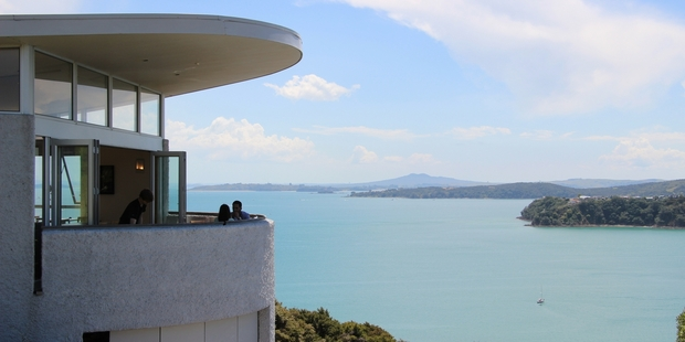 A table on the deck at Te Whau Vineyard on Waiheke Island gives spectacular views that almost create a sensation of flying.