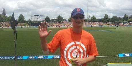 Michael Morton took a one handed catch today that won him $100,000. Photo / BlackCaps