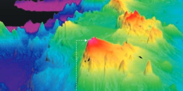 Loading Three-dimensional imaging shows a mountainous ridge with valleys that lie about 2km below the top of its peaks.