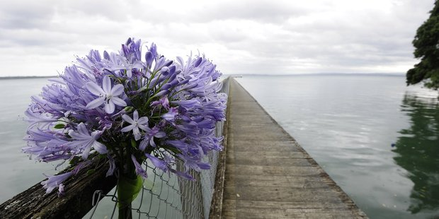 Flowers are placed at Kauri Point jetty in remembrance of the fisherman who drowned last Thursday.
