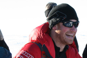 Prince Harry sprouted his ginger whiskers during a charity walk to the South Pole. Photo / Getty