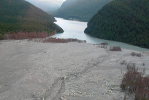 A lake forms last night behind the Dart Valley landslip. Photo / GNS Science/GeoNet