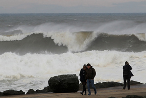 Big waves slap against the seawall at the beach in Anglet, southwestern France. Photo / AFP