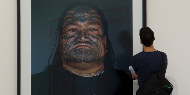 Hundreds of visitors have flocked into Auckland's Gow Langsford Gallery to see the giant portraits of Mongrel Mob members. Photo / Brett Phibbs