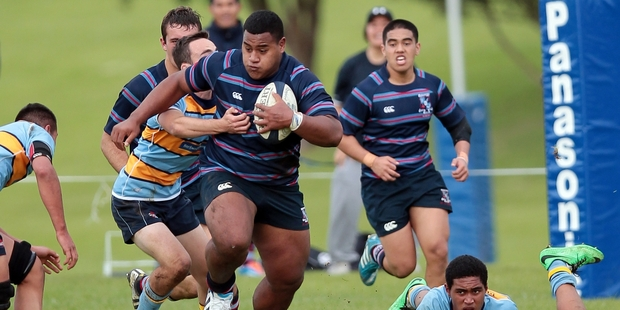 Daniel Tupou scored another three tries for Sacred Heart College yesterday.Photo / Doug Sherring