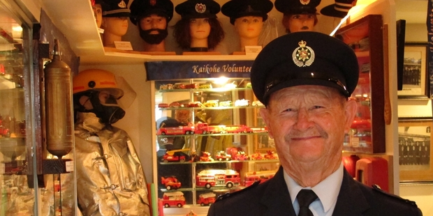 Senior firefighter Jim Powdrill in his Kaikohe Fire Museum. Photo/Peter de Graaf