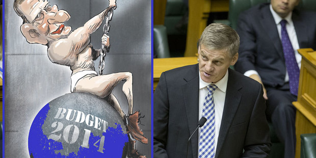 Finance Minister Bill English reading his Budget 2014 in Parliament.