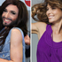 Conchita Wurst's smile looks very Shania Twain, not to mention her denim vest. Photo / AP, Supplied