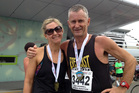Rachel Grunwell and her dad, Nick, after competing in the Rotorua marathon.