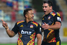 Chiefs player Tim Nanai-Williams celebrates his try with teammate, Dwayne Sweeney. Photo / Alan Gibson