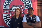 Journalist Samantha Hayes and Rex Timu, president of the Hastings chapter of the Mongrel Mob. Photo / 3rd Degree