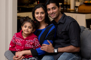 Kanav and Shruti Malhotra, both 32, with their daughter Kashish, 3. Photo / Brett Phibbs