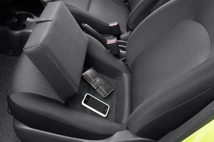 The Nissan Micra has a handbag holder in the front passenger seat.