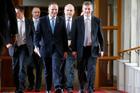 Finance Minister Bill English, with Prime Minister John Key and Associate Finance Minister Steven Joyce.