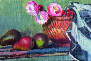 The Bloomsbury Cookbook. Still Life with Pears and Everlasting Flowers, by Vanessa Bell.