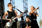 Thom Powers, left, and Alisa Xayalith of The Naked and Famous perform at the 2014 Coachella Music and Arts Festival. Photo / AP
