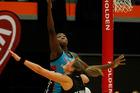 Leana De Bruin defends against Jhaniele Fowler-Reid. Photo / Christine Cornege