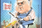 Australian Treasurer Joe Hockey, preparing for massive cuts in coming Budget. Cartoon - Rod Emmerson NZH