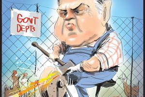 Australian Treasurer Joe Hockey, preparing for massive cuts in coming Budget. Cartoon - Rod Emmerson NZH