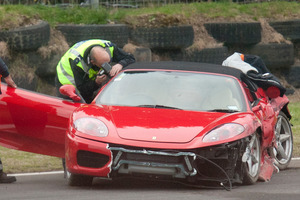 One person died after the Ferrari they were driving crashed at Taupo Motorsport Park this week. Photo/ Ben Fraser