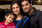 Kanav and Shruti Malhotra, with 3-year-old daughter Kashish. Photo / Brett Phibbs