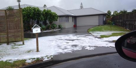 Hail was so thick in places it looked like it had snowed. This photo was taken in Kamo by Julie Williams.