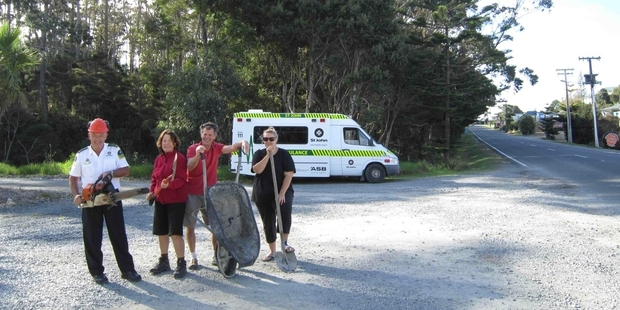 A team of willing workers cannot wait to start work on a new ambulance station at Mangawhai.Photo/Supplied