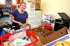Natalie Dixon helps sort out toiletries for Tauranga Women's Refuge. PHOTO/RUTH KEBER