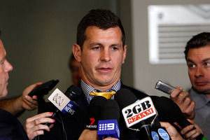 Greg Bird talks to the media at the NRL judiciary hearing into his Dangerous Throw charge. Photo / Getty Images