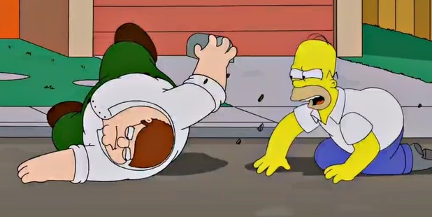 Peter Griffin and Homer Simpson take their fight into the street.