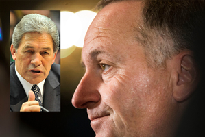 John Key, right, and Winston Peters, inset.