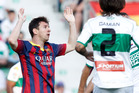 Barcelona's Lionel Messi reacts after failing to score against Elche. Photo / AP