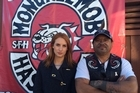 Samantha Hayes and Rex Timu, president of the Hastings chapter of the Mongrel Mob. Photo /3RD DEGREEE