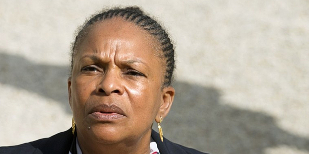 French Justice Minister Christiane Taubira leaves the Elysee palace. Photo / AFP