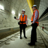 John Key takes a walk through the Waterview Tunnel with Transport Agency Highways Manager Tom Parker. Photo / Dean Purcell
