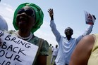 Supporters are seen during a rally in Miami, Florida, to show support for national and international action to free the Nigerian girls. Photo / AFP