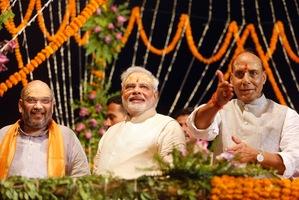 India's next prime minister Narendra Modi, center. Photo / AP