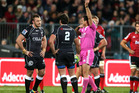 Jean Deysel (L) of the Sharks is red carded by referee Rohan Hoffmann during the round 14 Super Rugby match between the Crusaders and the Sharks. Photo / Getty Images.