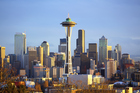 Seattle's busy skyline is dominated by the Space Needle.