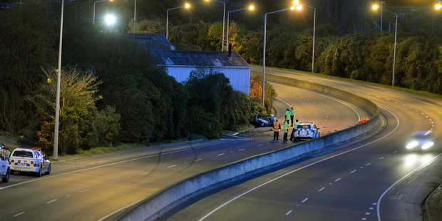 Loading Two people died in this accident on the south bound lane of the Green Island motorway in Dunedin at 3am this morning. Photo / Stephen Jaquiery