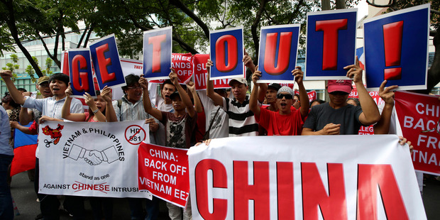 Deployment of a Chinese oil rig off the Vietnamese coast has triggered anti-China protests in Vietnam. Photo / AP