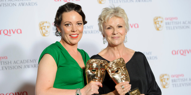 British actresses Olivia Colman (left) and Julie Walters with their awards at the Baftas in London. Photo / AP
