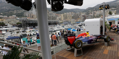 A Red Bull car is seen in the Red Bull motorhome in Monaco ahead of the Monaco Formula One Grand Prix this Sunday. Photo / AP