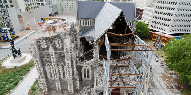 The earthquake damaged Christchurch Cathedral. Photo / APN